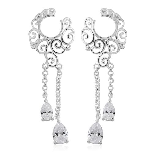 J Francis - Sterling Silver (Pear) Filigree Chandelier Earrings (with Push Back) Made with SWAROVSKI
