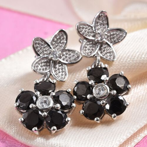 Elite Shungite and Natural Cambodian Zircon Floral Earrings (with Push Back) in Platinum Overlay Sterling Silver 1.64 Ct.