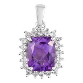 Moroccan Amethyst and Natural Cambodian Zircon Halo Pendant in Platinum Overlay Sterling 3.50 Ct.