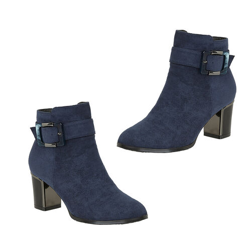 Lotus CHARLOTTE Heeled Ankled Boots with Buckle (Size 6) - Navy