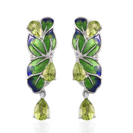 AA Hebei Peridot, Natural Cambodian Zircon Enamelled Drop Earrings (with Push Back) Platinum Overlay