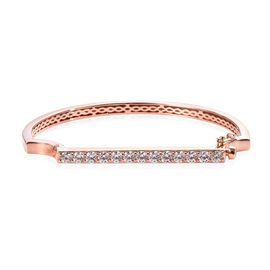 J Francis - Rose Gold Overlay Sterling Silver (Rnd) Bangle (Size 7.75) Made with SWAROVSKI ZIRCONIA,