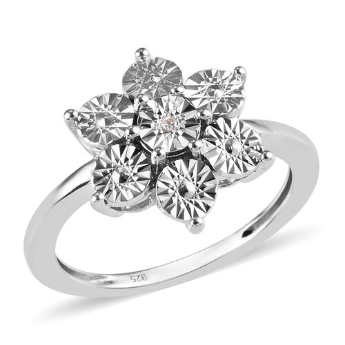 Diamond Floral Ring in Platinum Plated Sterling Silver