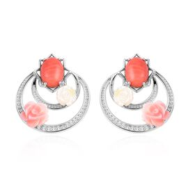 Living Coral (Ovl), Pink and Yellow Mother of Pearl Earrings (with Push Back) in Rhodium Overlay Ste