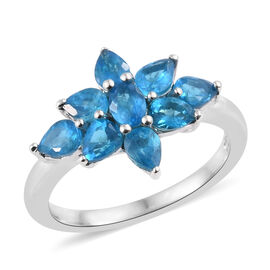 1.3 Ct Neon Apatite Floral Ring in Platinum Plated Sterling Silver
