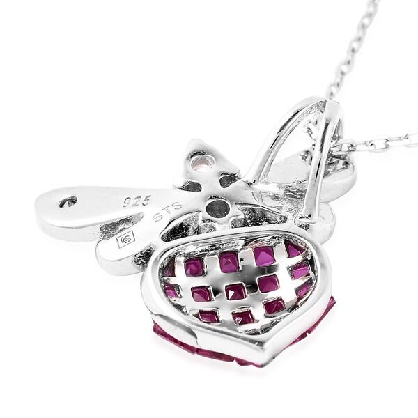 Lustro Stella - Mystery Setting Simulated Ruby and Simulated Diamond Dragonfly Pendant with Chain (Size 18) in Rhodium Overlay Sterling Silver
