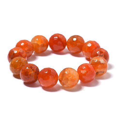 Orange Agate (Rnd 14-16 mm) Stretchable Bracelet (Size 6.5) 350.500 Ct.