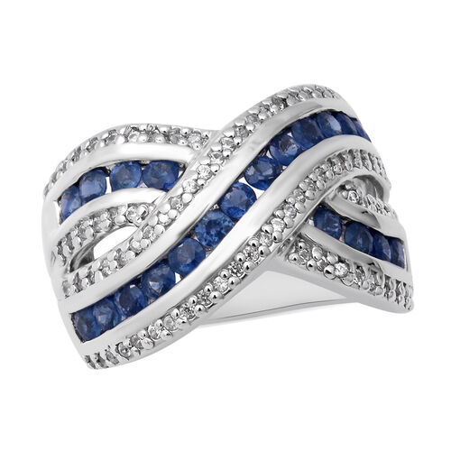 2.09 Ct Blue Sapphire and Zircon Criss Cross Ring in Rhodium Plated Silver 7 Grams