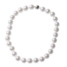White Shell Pearl Beaded Necklace with Magnetic Lock in Rhodium Plated Sterling Silver 20 Inch