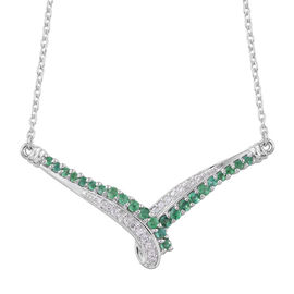Designer Inspired Kagem Zambian Emerald (Rnd) and Natural Cambodian White Zircon Necklace (Size 18) in Platinum Overlay Sterling Silver