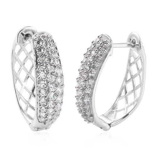 J Francis Platinum Overlay Sterling Silver Hoop Earrings (with Clasp) Made with SWAROVSKI ZIRCONIA 2