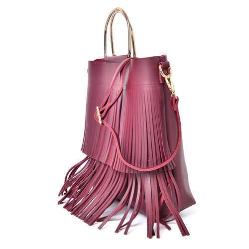 Set of 2 - Burgundy Colour Large Handbag with Fringes (Size 30X27X8 Cm) and Small Handbag (Size 22X18X4 Cm) with Adjustable and Removable Shoulder Strap