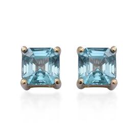 9K Yellow Gold Ratanakiri Blue Zircon Stud Earrings (with Push Back) 4.70 Ct.