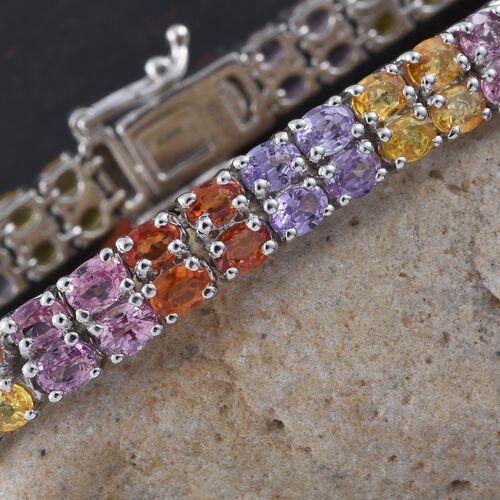 Yellow Sapphire (Ovl), Madagascar Purple Sapphire, Pink Sapphire, Orange Sapphire and Diamond Bracelet (Size 7.5) in Platinum Overlay Sterling Silver 22.000 Ct.