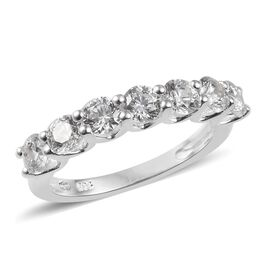 J Francis Made with SWAROVSKI ZIRCONIA Half Eternity Band Ring in Silver