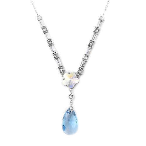 J Francis Swarovski Zirconia Floral Necklace in Rhodium Plated Silver 18 with 2 inch Extender