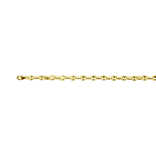 Italian Made - Yellow Gold Overlay Sterling Silver Mariner Bracelet (Size 7.5), Silver wt. 11.92 Gms.