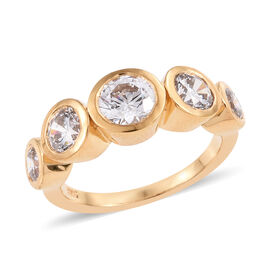 J Francis Made with Swarovski Zirconia 5 Stone Ring in Gold Plated Sterling Silver 3.25 Grams