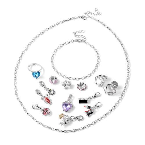 14 Piece Jewellery Set with 6 charms, 3 Beads, 1 Ring, Earring, Necklace, Bracelet and Pendant)