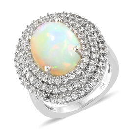 Limited Edition- Extremely Rare Ethiopian Welo Opal (Ovl 14x10 mm, 4.00 Ct), Natural Cambodian Zircon Ring in Platinum Overlay Sterling Silver 6.000 Ct, Silver wt 5.73 Gms,