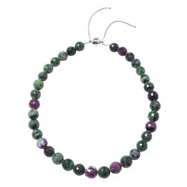 Collectors Edition Extremely Rare 100% Natural Faceted Ruby Zoisite (Rnd 11-15 mm) Necklace (Size 18 - 22 ) in Sterling Silver 640.00 Ct.