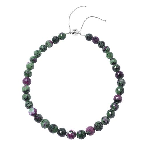 Collectors Edition Extremely Rare 100% Natural Ruby Zoisite (Rnd 11-15 mm) Necklace (Size 18 - 22 )
