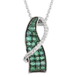 Kagem Zambian Emerald (Rnd), Natural Cambodian Zircon Crossover Pendant with Chain in Black Platinum Overlay Sterling Silver 1.150 Ct.