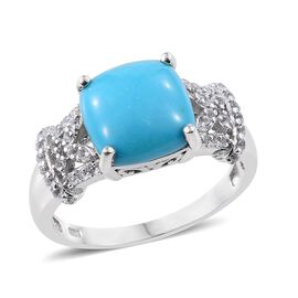 4.50 Ct Turquoise and White Topaz Solitaire Design Ring in Platinum Plated Silver