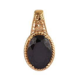 8 Ct Elite Shungite Floral Solitaire Pendant in Gold Plated Sterling Silver 5 Grams