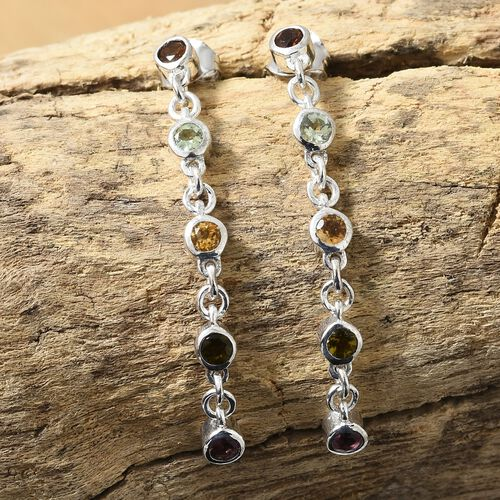 Rainbow Tourmaline (Rnd) Earrings (with Push Back) in Platinum Overlay Sterling Silver 1.150 Ct.