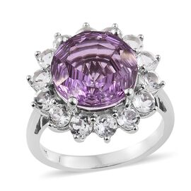 11 Carat Kunzite Colour Quartz and White Topaz Halo Ring in Platinum Plated Silver
