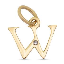 9K Yellow Gold Diamond Initial W Pendant