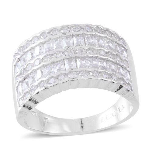 ELANZA Simulated White Diamond (Rnd and Sqr) Ring in Rhodium Plated Sterling Silver, Silver wt 7.60