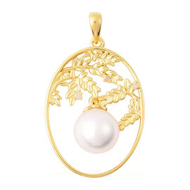 Edison Pearl and Diamond Leafy Vine Design Pendant in Yellow Gold Overlay Sterling Silver