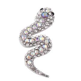 Multicolour Austrian Crystal Snake Brooch in Silver Tone