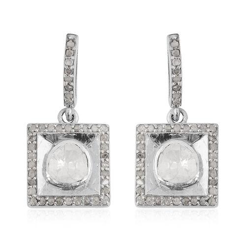 Natural Polki Diamond Earrings in Platinum Overlay Sterling Silver 1.20 ct.