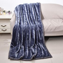 Double Layer Super Soft Blanket with Piping (Size 150x200 Cm)-Tanzanite Colour