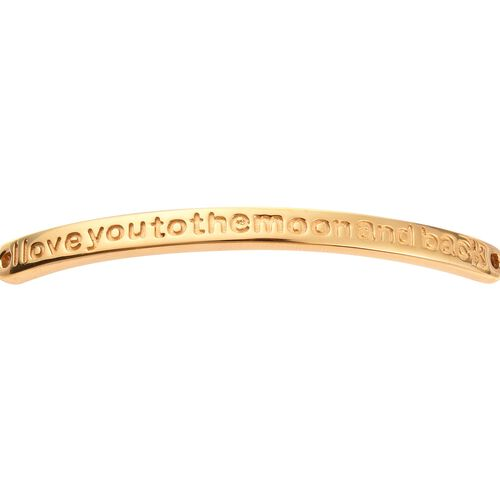 14K Gold Overlay Sterling Silver I Love you to the Moon and Back Quote Bracelet, Sliver wt. 8.04 Gms