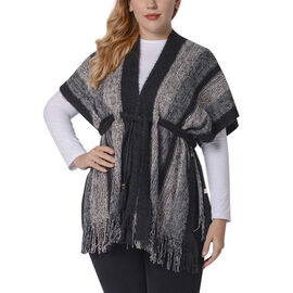 Black Striped Shawl Wrap with Waist Belt (Size 84x66+10cm)
