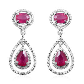 African Ruby (Pear 5.20 Ct), Natural White Cambodian Zircon Earrings (with Push Back) in Rhodium Overlay Sterling Silver 5.260 Ct, Silver wt 6.19 Gms.