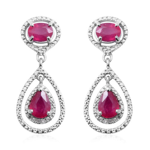 African Ruby (Pear 5.20 Ct), Natural White Cambodian Zircon Earrings (with Push Back) in Rhodium Ove