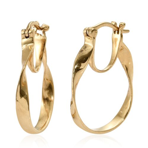 Thai Collection - 14K Gold Overlay Sterling Silver Oval Hoop Earrings (with Clasp), Silver wt 4.45 Gms.