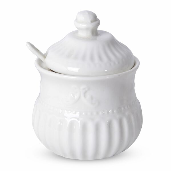 22 Piece Set - Art Deco - Flower Embossed Tea Set (Consists of 6 Cups, 6 Saucers, 7 Spoons, 1 Sugar Jar, 1 Milk Jar, 1 x 750ml Tea Pot) - White