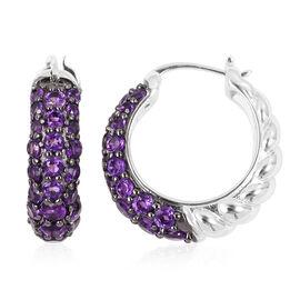 Designer Inspired-Pave Set Lusaka Amethyst (Rnd) Hoop Earrings (with Clasp Lock) in Sterling Silver 3.230 Ct,