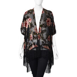 Black and Pink Colour Peony Pattern Kimono with Long Tassels (Free Size; L-66 Cm)