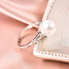 Galatea Pearl - Edison Momento Talking Pearl Ring in Rhodium Overlay Sterling Silver