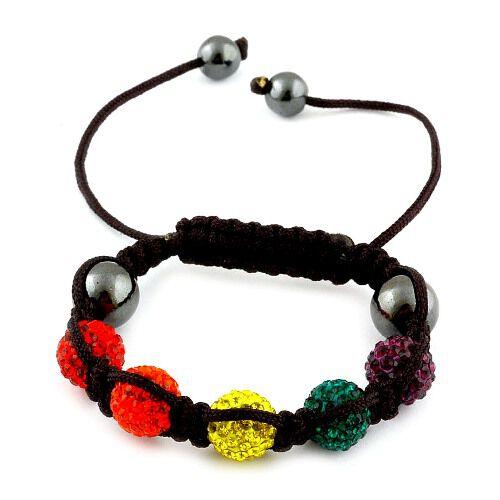 Multi Colour Austrian Crystal and Hematite Beads Bracelet (Adjustable)
