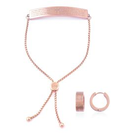 Bar Bolo Bracelet (Size 6.5 to 9.5) and Hoop Earrings in Rose Gold Plated Stainless Steel