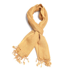 New Season Coffee Colour Linen Handloom Woven Scarf (Size 180x70 Cm)