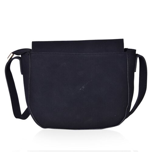 Black Colour Crossbody Bag with Bow Embellished Metallic Circle at Front and Adjustable Shoulder Strap (Size 20X16X7 Cm)